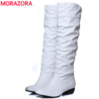 Large Size 2016 New Arrive Winter Knee High Women Boots Black White Brown Flat Heels Half