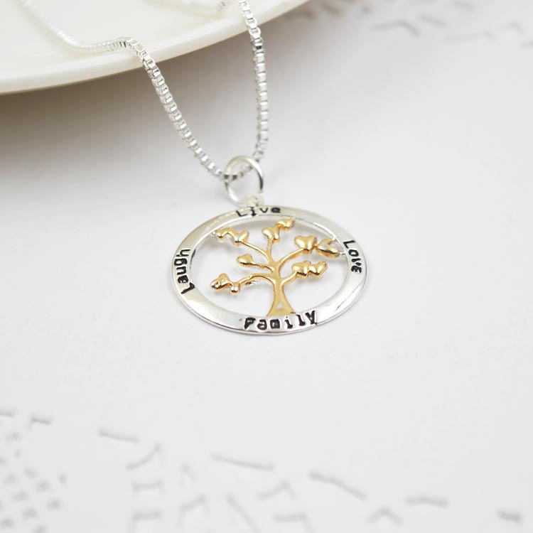 Ziris hot sale women necklace pendant heart leaves tree of life ziris hot sale women necklace pendant heart leaves tree of life message family live love laugh for christmas gift in pendant necklaces from jewelry aloadofball Gallery