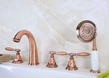 Antique Red Copper Brass Deck 5 Holes Bathtub Mixer Faucet Handheld Shower Widespread Bathroom Faucet Set Basin Water Tap atf237