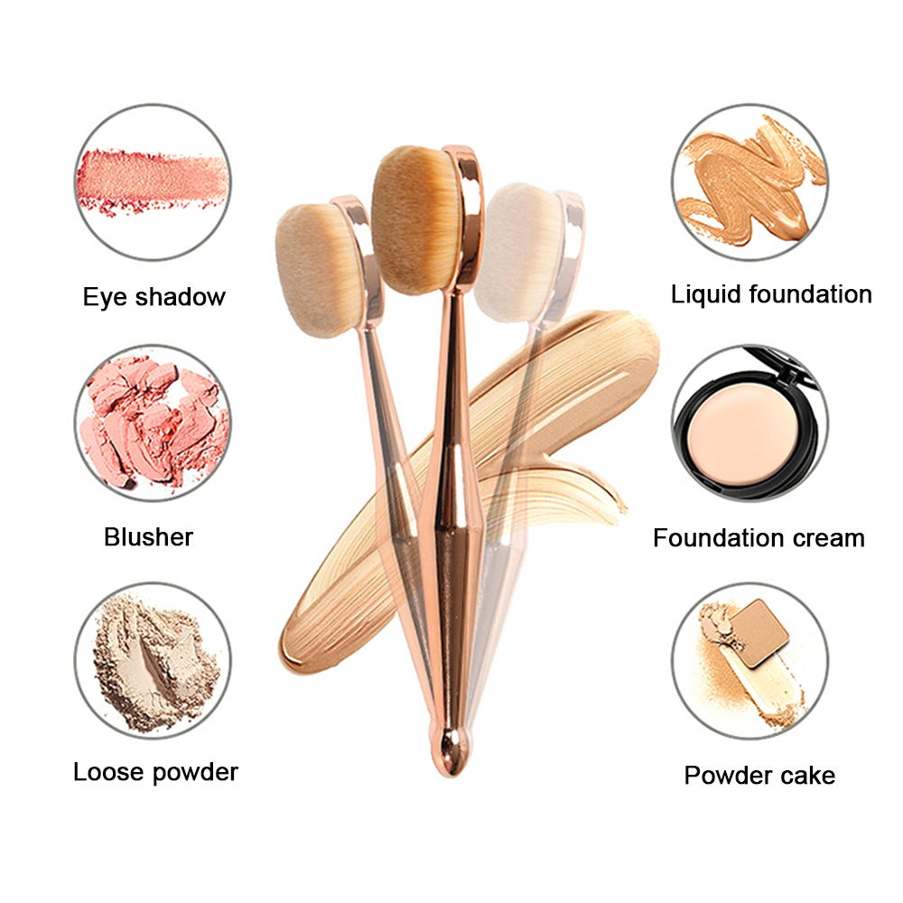 1 Pcs Make Up Brush Toothbrush Shaped New Beauty Instrument Makeup Brush Multi-functional Base Oval Brush Rose Gold image