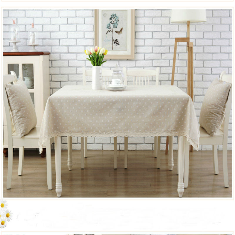 2017High Quality Hotel Dining Circle Pattern Cotton And Linen Tablecloth Exquisite Lace Rectangular