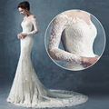 2017 Graceful Lace Scalloped Strap Wedding Dress Brush Train Elegant Three Quarter Sleeve Beaded Sheath Wedding Dress