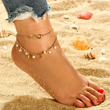 цена на Romantic Infinity Star Anklets Bracelets Double Layer Chic Pearl Gold Color Charm Anklets For Women Gift