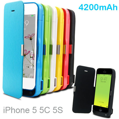 Luxury 4200mAh External power pack with cover bank Portable Charger Backup Battery Case For iphone 5C 5 5s with usb cable