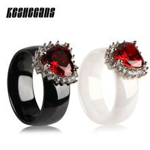 Luxury Heart Shape Red Rhinestone Ceramic Ring For Women Lady Healthy Fashion Jewelry Black White Wedding Engagement Party Gifts(China)