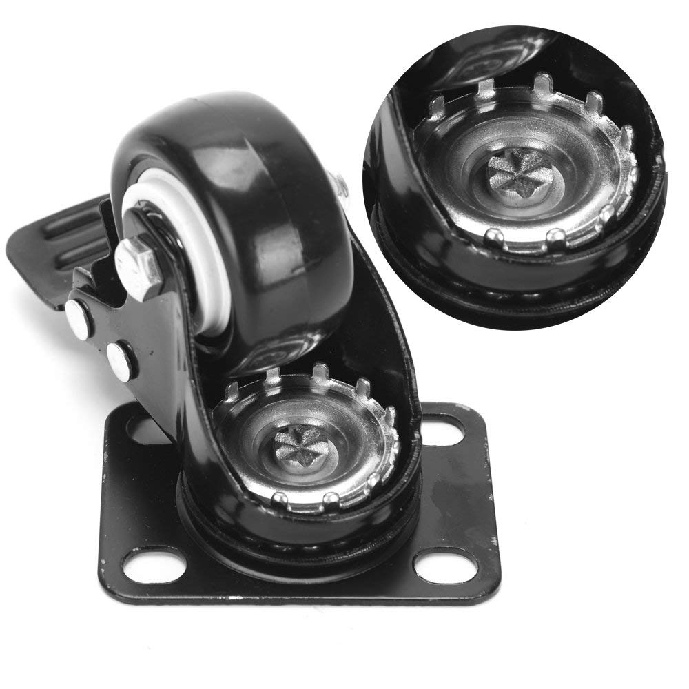"12 LOT 3/"" Casters Swivel Wheel Polyurethane Top Plate BLACK Heavy Duty"