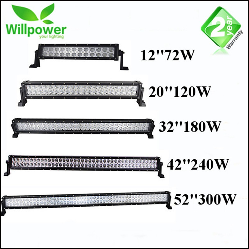 72W 120W 180W 240W 300WInch Dual Row Straight LED Work Light Bar 12