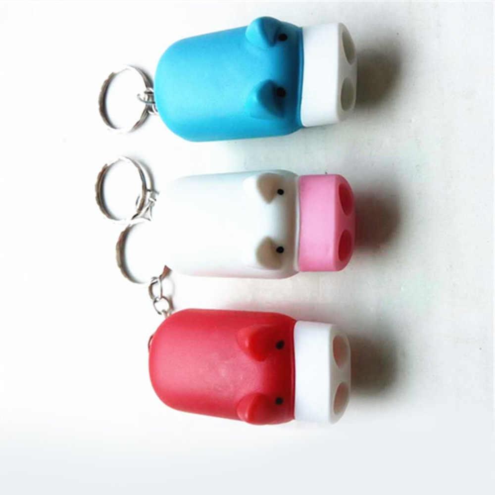 Mini Porco Portátil Torch Key Anel LED Piscando Luz Portátil Lanterna Com LEDs 2 Presente Do Negócio (Cor Aleatória)