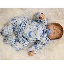 Soft Vinyl Reborn Baby Dolls Cloth Body 20 Inch 50 cm Newborn Babies Boy Sleeping With Curved Mohair Kids Birthday Xmas Gift