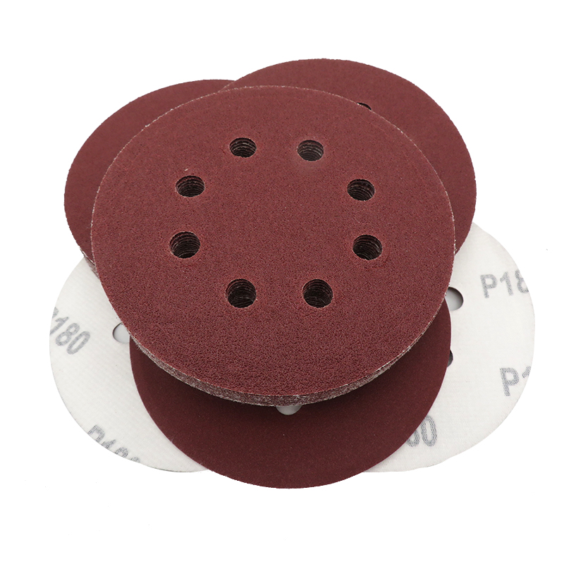 10PCS 5 Inch 125MM 8-Hole Aluminum Oxide Red Sandpaper Sanding Discs Hook And Loop 60 To 2000 Grits