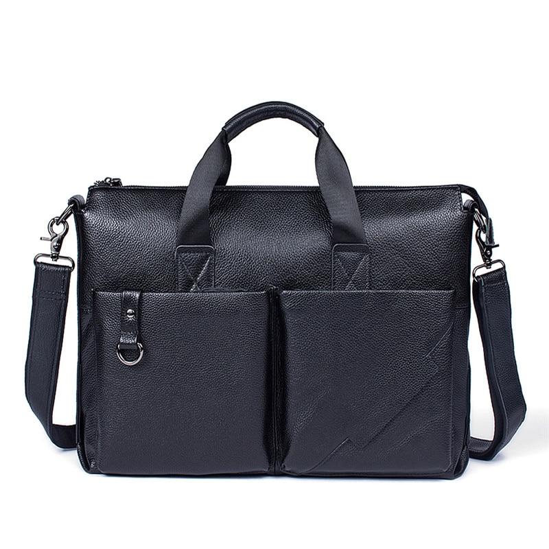 Leder Aktentasche Handtasche Aus Portfolio Reisetaschen Vintage Schwarzes Totes Männer Schulter Neue Taschen Männlichen Messenger Echtem Business wYCxYOaqX