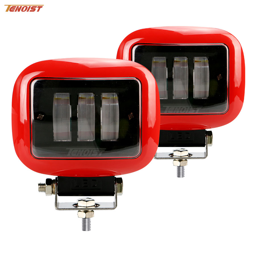 The Newest Super Bright Red Black 4.5 Inch Rectangle 30W Work Light For Wrangler SUV ATV Truck 4*4 Motorcycle 12V 24V