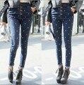 Высокая талия джинсы женщина карандаш брюки новые 2015 старинные крест вышивка узкие джинсовые брюки высокой талии тонкий джинсы брюки брюки