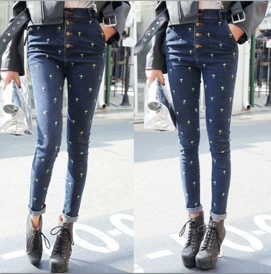 Cintura alta Jeans mulher lápis calças novo 2015 do Vintage cruz bordados Skinny Jeans calças de cintura alta magro calças Jeans calças