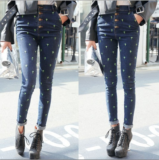 High Waist Jeans Woman Pencil Pants New 2017 Vintage Cross Embroidery Skinny Denim Pants High Waist Slim Jeans Pants Trousers 2017 new jeans women spring pants high waist thin slim elastic waist pencil pants fashion denim trousers 3 color plus size