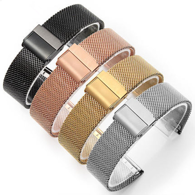06 Line Milanis Stainless Steel Double Insurance Buckle Wrap Woven Dw Wristwatch Band Accessories 12 24mm in Watchbands from Watches