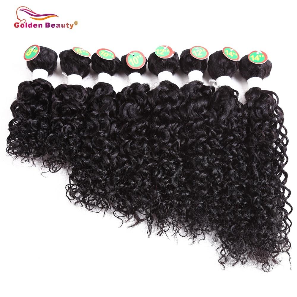 Golden Beauty 8-14inch 8st / pack Ombre Colored Jerry Curly Syntetisk - Syntetiskt hår - Foto 6