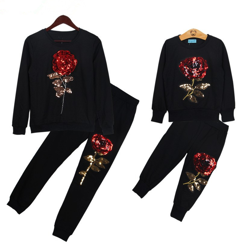 hot sale!! 2018 fashion high quality baby girls Sequins embroidery rose pattern sport set girls casual suit top+pants 2pcs suit hot sale good quality inductive