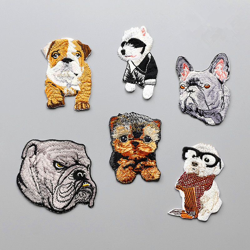 1 PCS Cartoon Cute Animal Patterns Patch Small Size Cute Dog Patch para ropa Hierro en DIY Niños Camiseta Bolsa Pantalones Accesorios