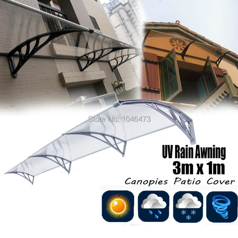 (Ship from USA) 3M Outdoor Canopy DIY Polycarbonate Sheet Durable Door Window Awning Sun Shield Patio Cover Sunshade usa ship