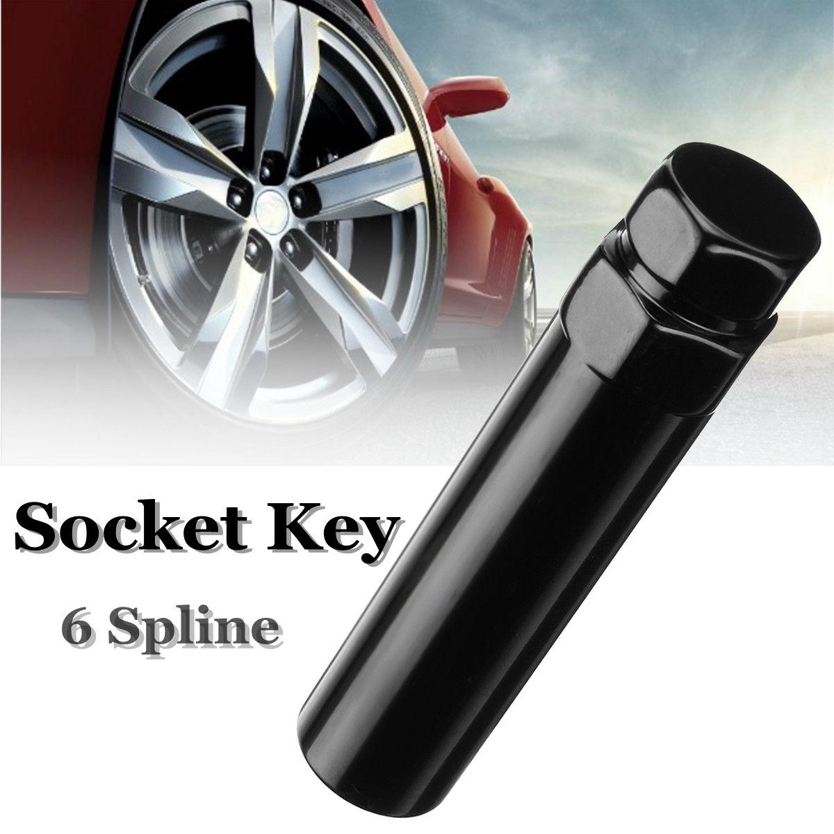 Black 19mm 21mm 6 Spline Drive Tuner Wheel Lug Nut Repair Tool Key Lock Replacement 3