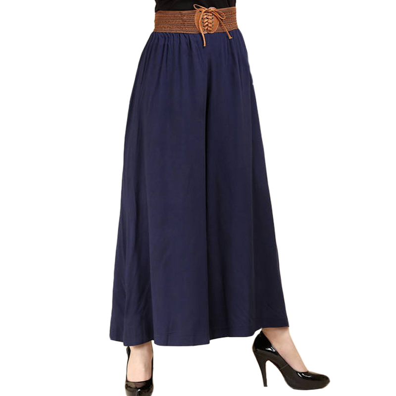 2019 new   wide     leg     pants   female skirt spring high waist casual loose big large size thin section nine points   pants