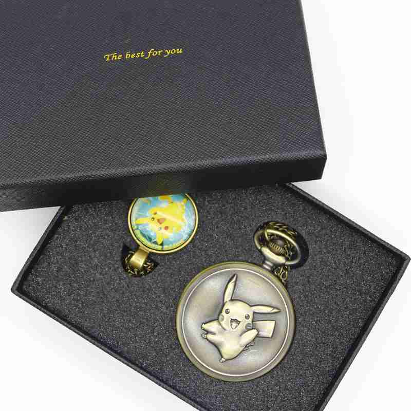 Pikachu Game Boy Pokemon Pocket Monsters Quartz Pocket Watch Analog Pendant Necklace Men Women Watches Sets With Box TPB042