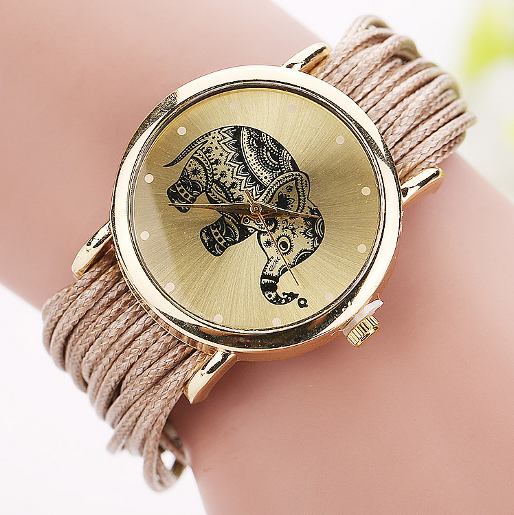 Fashion Elephant Gold Dial Watch Women Casual Analog Quartz Watch Ladies Wristwatch Girls Clock Relogio Feminino Gift 1687 miler vintage fashion watch women retro leather strap world map casual quartz wristwatch ladies creative clock relogio feminino