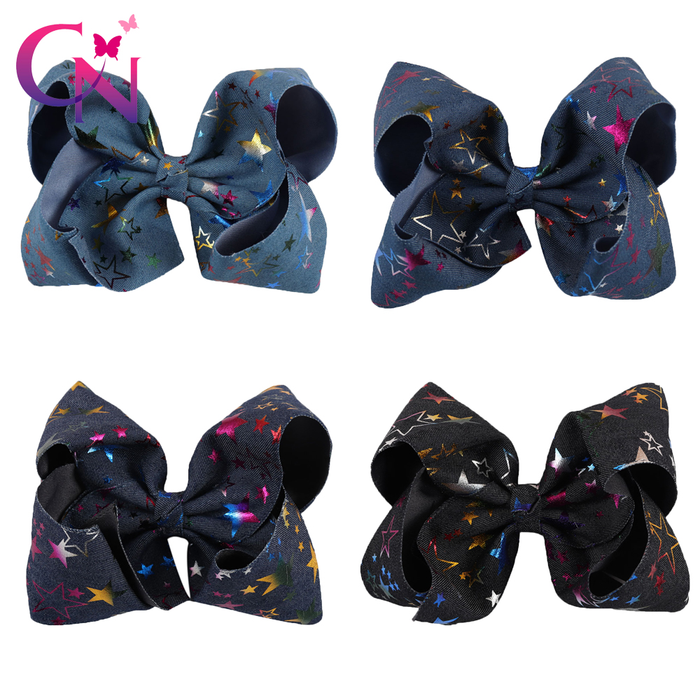 4 Pieces/lot 7 Denim Fabric Hair Bows Hair Clips For Kids Girl Boutique Metalic Stars Printed Jumbo Bows Women Hair Accessories free shipping elegant women hair fascinator hats hair accessory flower girl hair accessories hair bows with clips fabric flower