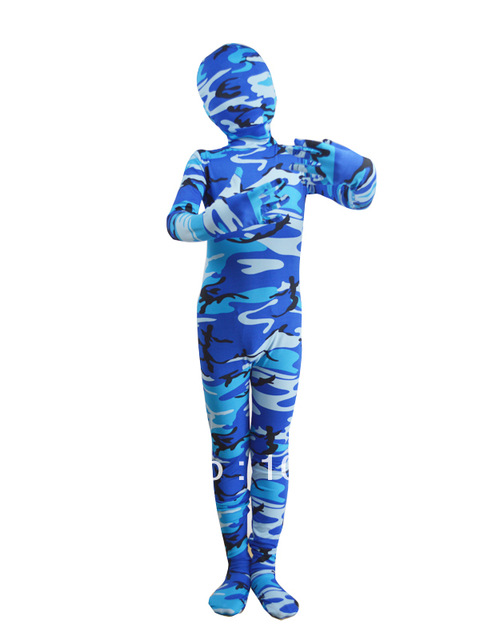 Kids camouflage costume high-elastic children camouflage costume halloween party Zentai bodysuit custom Free shipping