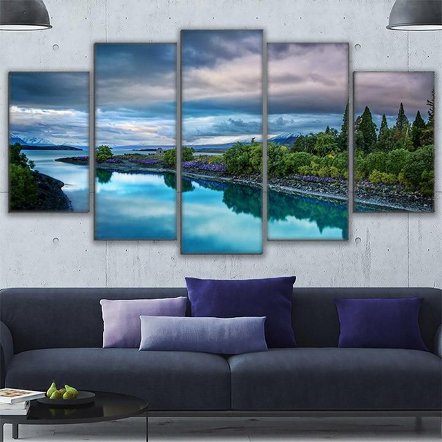 Leinwand Gemälde Wandbilder Rahmen Poster 5 Stücke Insel Fluss Berg ...