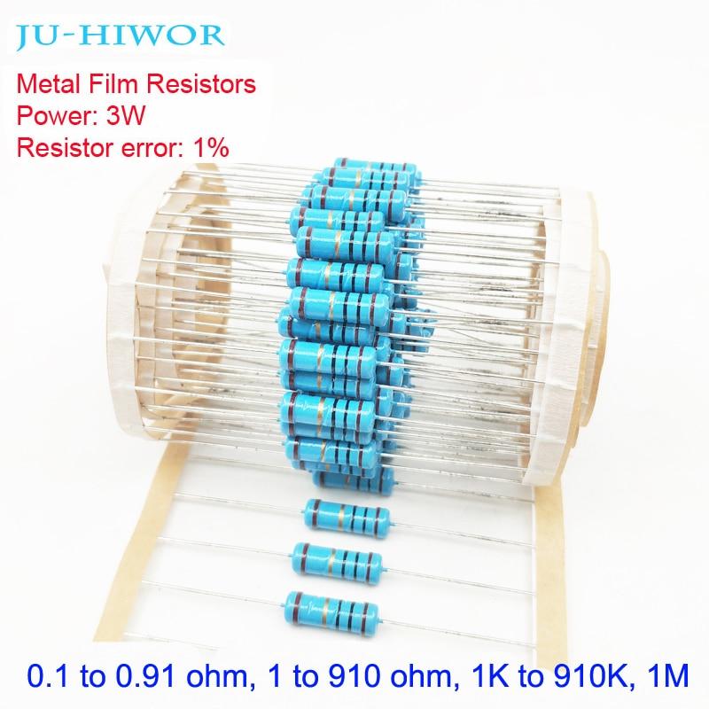 3W 1% Tolerance Metal Film Resistors 0.1-0.91 1-910 1K-910K 1M 100 200 300 1K 2K 3K Ohm Resistor Electronic Accessories