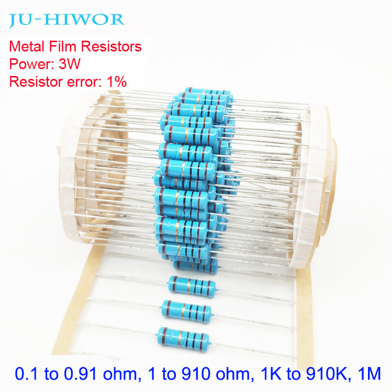 3W 1% Tolerance Metal Film <font><b>Resistors</b></font> 0.1-0.91 1-910 1K-910K 1M 100 200 300 1K 2K <font><b>3K</b></font> <font><b>Ohm</b></font> <font><b>Resistor</b></font> Electronic Accessories image