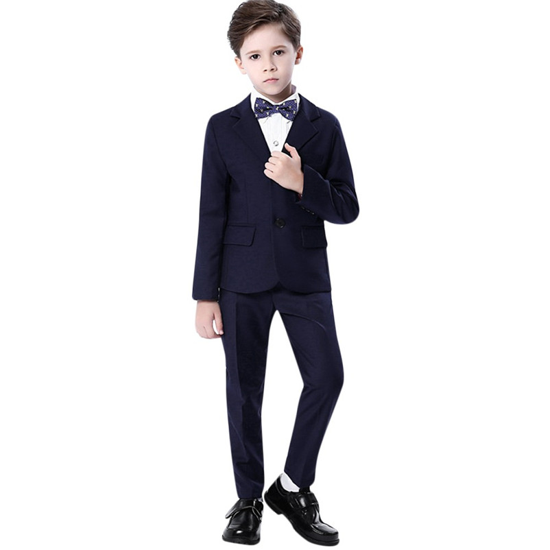 Cchildren Costume Suit Children Kids Boys Show Colorful Formal Full Turn-down Collar Suits Coat+Pants+Bow Tie+Shirt Suit Set #20 classic plaid pattern shirt collar long sleeves slimming colorful shirt for men