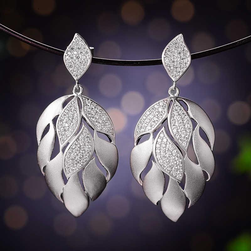 Lotus สนุกจริง 925 เงินสเตอร์ลิงธรรมชาติ Handmade Designer เครื่องประดับ Fine Luxury Aster กลีบดอกไม้ต่างหู Dangle สำหรับผู้หญิง