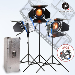 ALUMOTECH Fresnel Tungsten Spot Light 1000W*3+Stand*3+Dimmer*3+Aluminium Case Kit For Studio Photography Video Camera Support