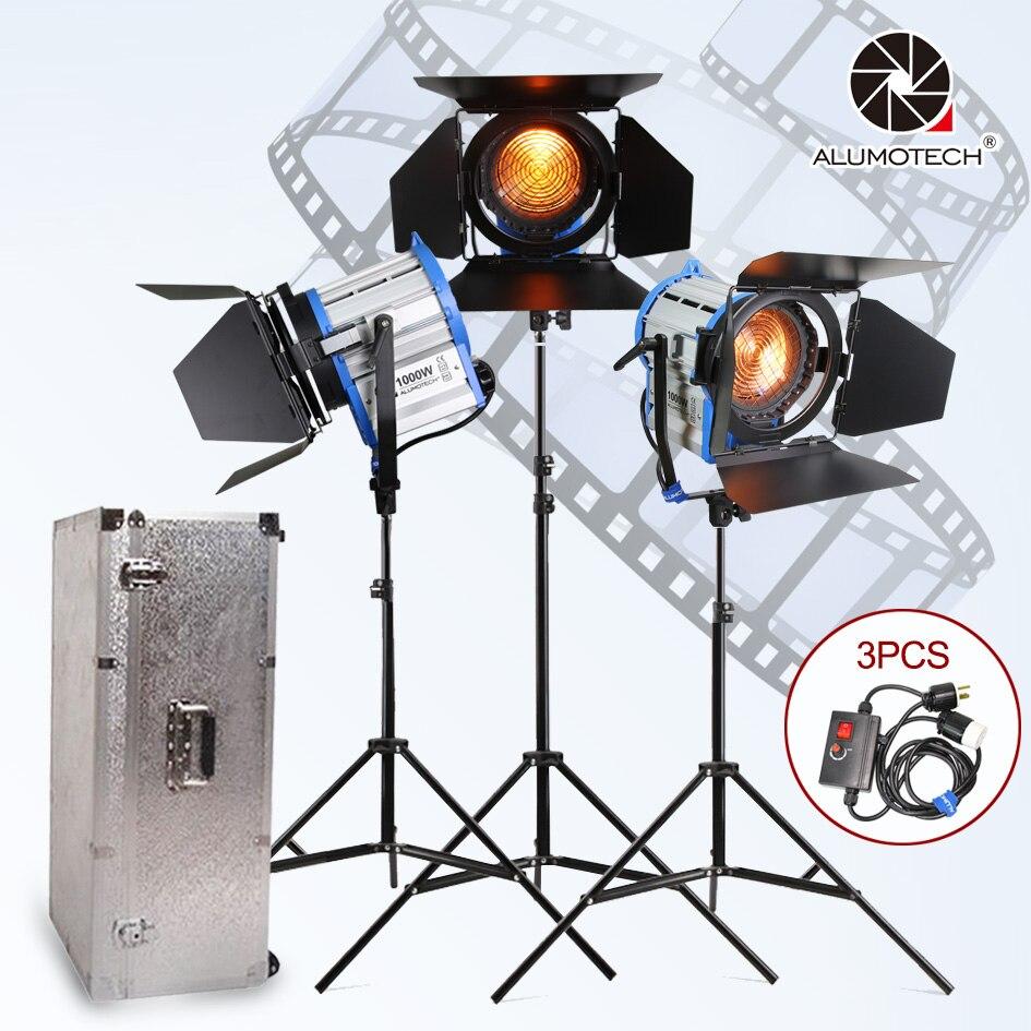 ALUMOTECH Fresnel Tungsten Spot light 1000 w * 3 + boîtier En Aluminium + stand + 3 gradateur + 3 stands kit