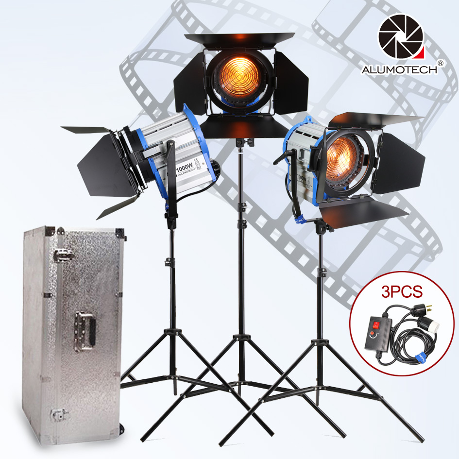 ALUMOTECH Fresnel Tungsten Spot light 1000W*3+Aluminium case+stand+3 dimmer+3 stands Kit