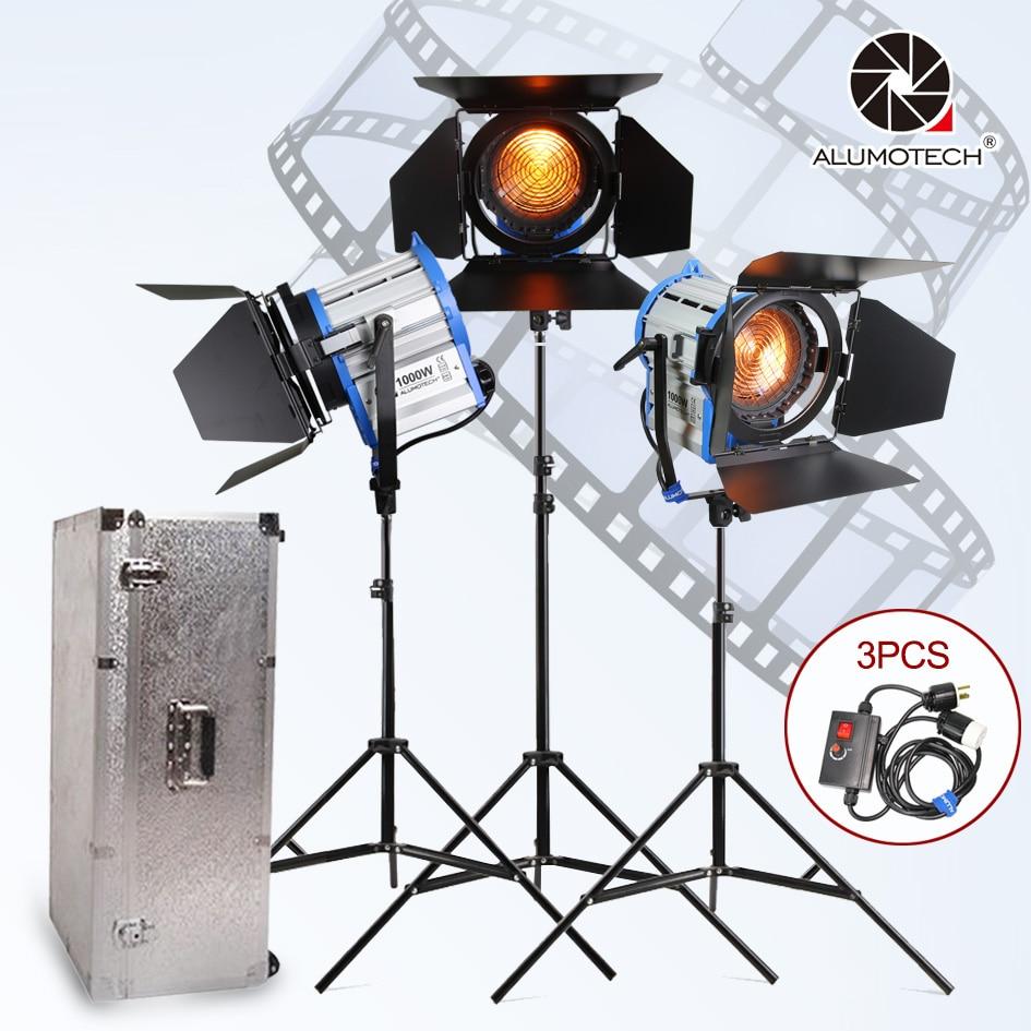 ALUMOTECH Fresnel Tungsteno Spot light 1000 w * 3 + caso di Alluminio + basamento + 3 dimmer + 3 stand kit