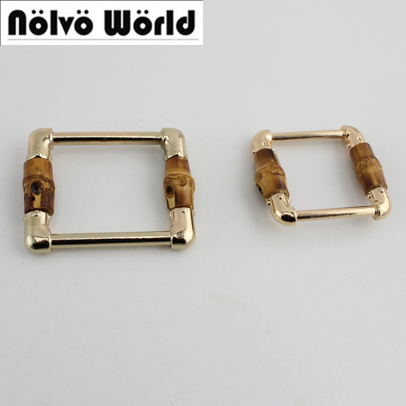 50pcs Nature Bamboo Polished  Zinc Alloy Square Buckle Bags/belts Pipe Buckles 10pcs