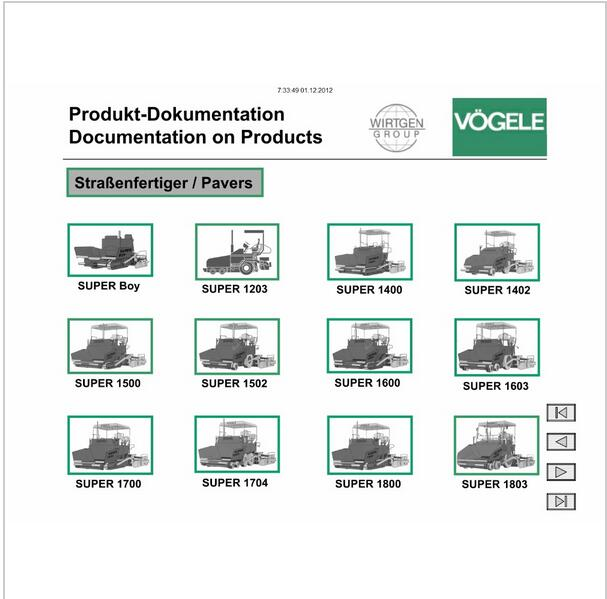 VOGELE electronic spare parts catalog, Vogele service manual, Vogele - operation manual