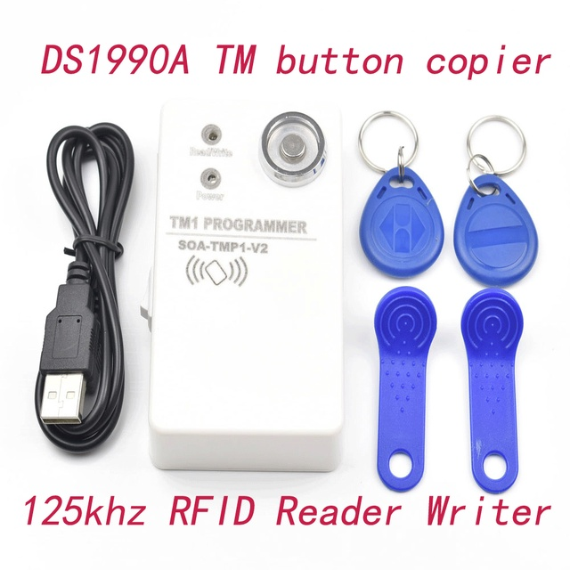 DS1990A TM iButton Copier & 125Khz RFID Reader Writer + 2 pcs RW1990 Blank Cards + 2 pcs 125kz EM4305 Keyfobs