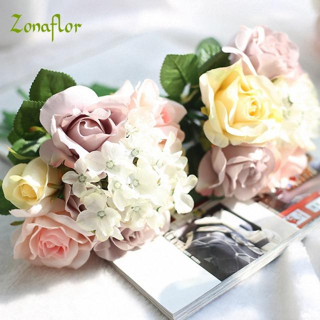Zonaflor Decorative Flower Wedding Colorful Rose Silk Fake Flowers ...