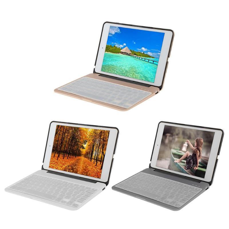 Hot F04 Aluminium Alloy Flip Bluetooth Keyboard with 7 Color Backlit Power Bank Protective Case for iPad Mini 4 стоимость