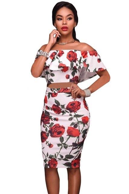51cf246d5c Mujeres Club party trajes Ladies Trajes vestidos moda rosas rojas Impresión  de dos piezas Ruffles crop