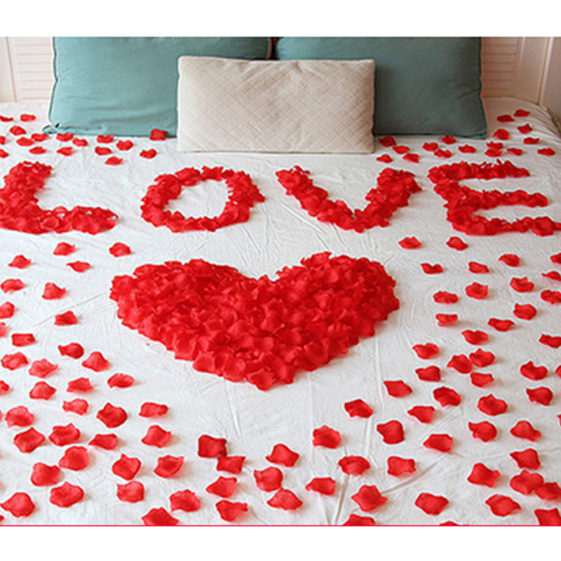 3000pcs lot artificial silk rose petals wedding decor fake for Bed decoration with rose petals