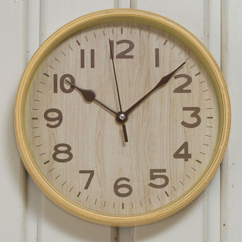 Imitation Wood Grain Wall Clock Digital Pastoral Plastic ...