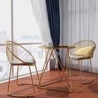 Новый Металл Сталь Досуг стул Утюг стул из проволоки с открытой спиной золотистый и черный обеденный кофе металл барные стулья мебель для г