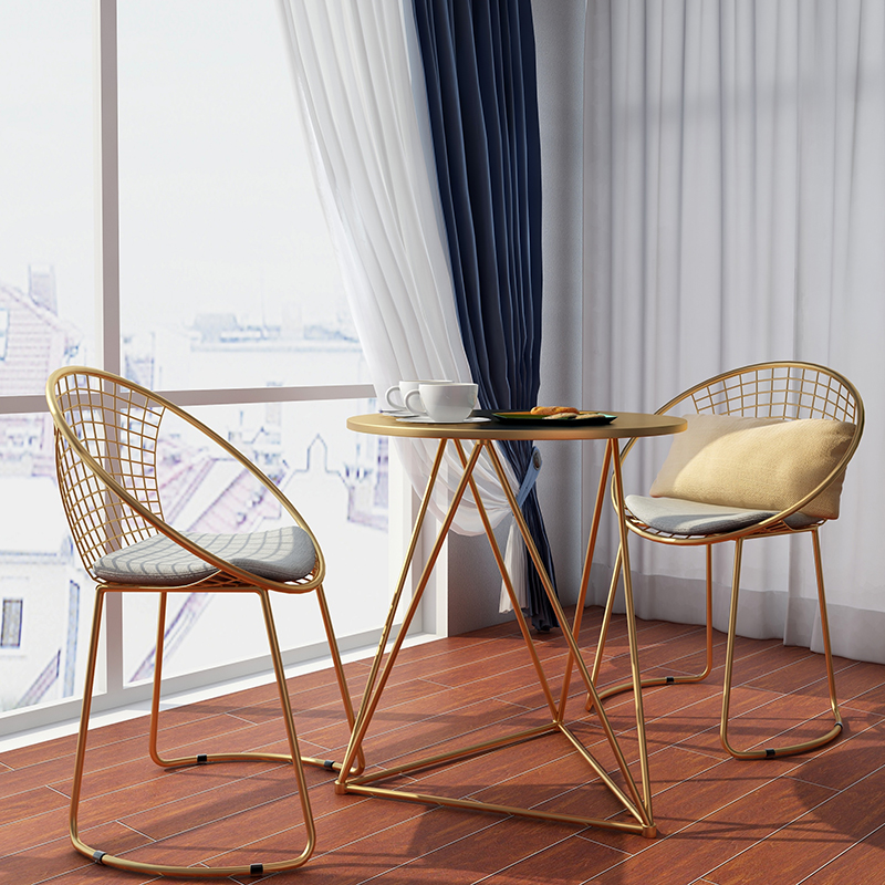 New Metal steel Leisure Chair iron wire chair hollow back gold black dining Coffee Metal Bar chairs Living Room Furniture 100% metal steel leisure chair iron wire chair hollow back gold dining chair metal living room furniture complimentary cushion