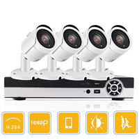CCTV 4CH AHD DVR Systems With 4pcs 1080p AHD 24 LEDS IR Outdoor Bullet Cameras 4pcs